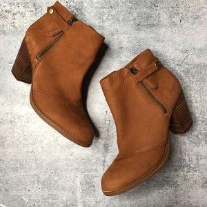 GB Gianni Bini Chestnut Leather Zipper Booties